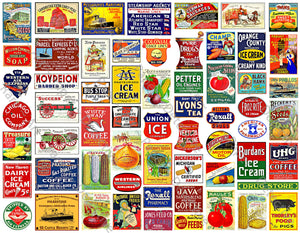"Scale Miniature Sign Stickers for Model Railroads, 61 Pcs. Set, Vintage Advertising Illustrations, 8.5"" x 11"" Sheet, #1007"