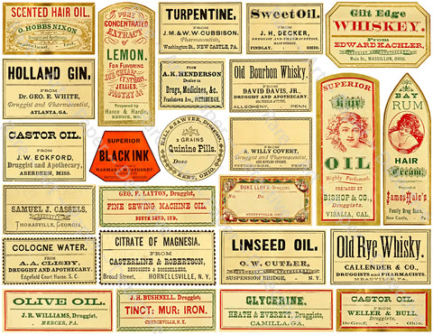 Medicine Cabinet Labels, 25 Authentic Looking Apothecary Label Stickers, Pharmacy & Druggist Decal Set #370Q