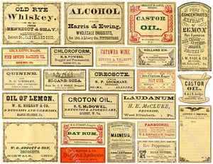 Medicine Cabinet Labels, 23 Authentic Looking Apothecary Label Stickers, Pharmacy & Druggist Decal Set #371Q