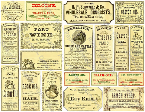 Medicine Cabinet Labels, 19 Authentic Looking Apothecary Label Stickers, Pharmacy & Druggist Decal Set #374Q