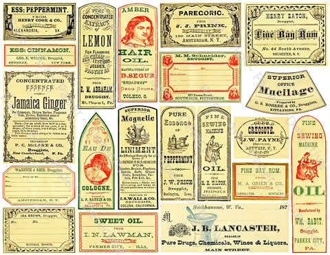 Medicine Cabinet Labels, 21 Authentic Looking Apothecary Label Stickers, Pharmacy & Druggist Decal Set #375Q