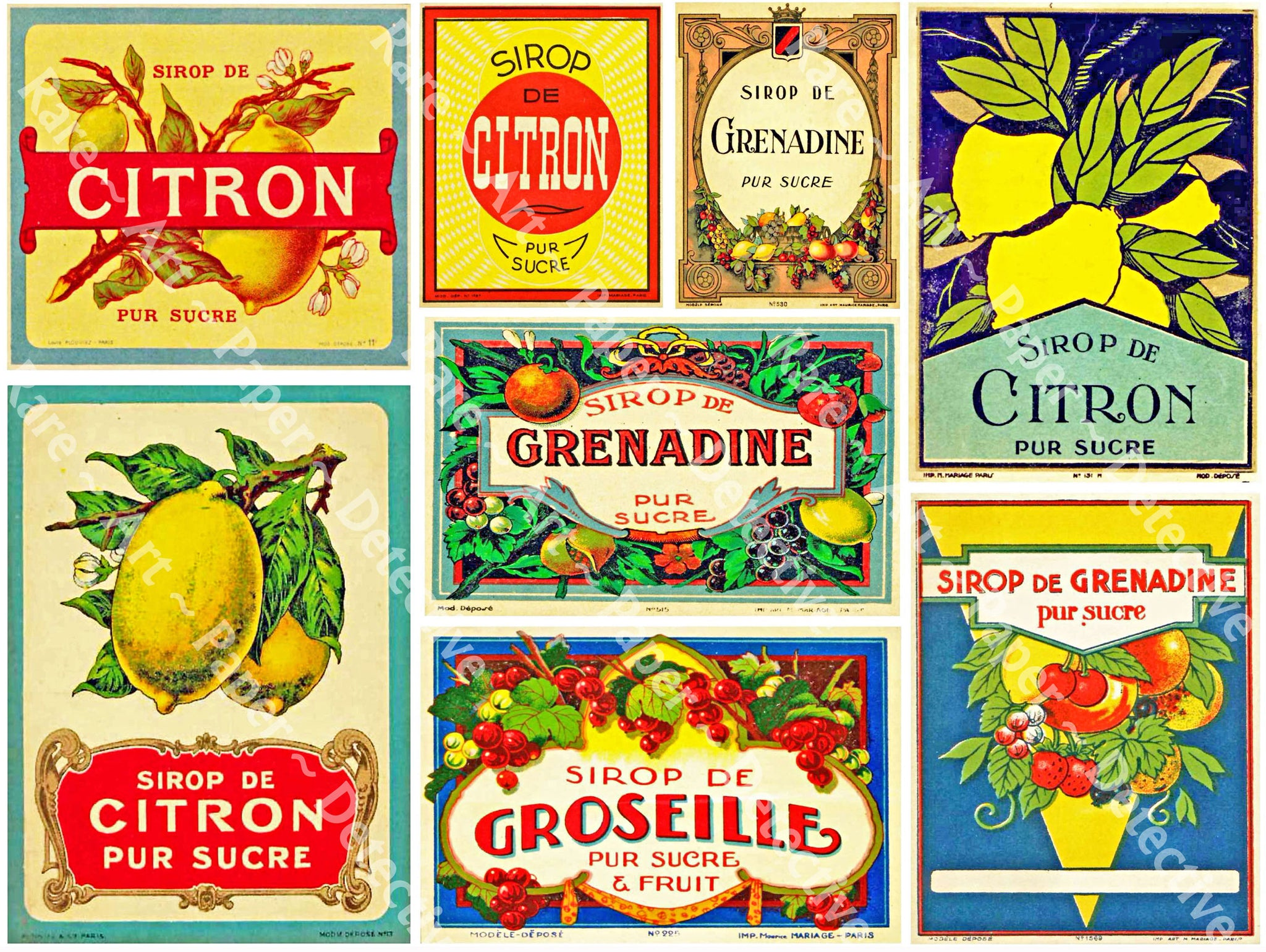 Kitchen Stickers & Decoration, Sirop De Citron Labels, 8 Vintage French Labels, Lemon Syrup, Antique Kitchen Labels, Citrus Crate Label, 387