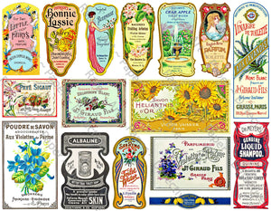 Bathroom Decor & Apothecary Sticker Sheet, 16 Elegant Perfume, Cologne & Toilet Water Labels, Set #40