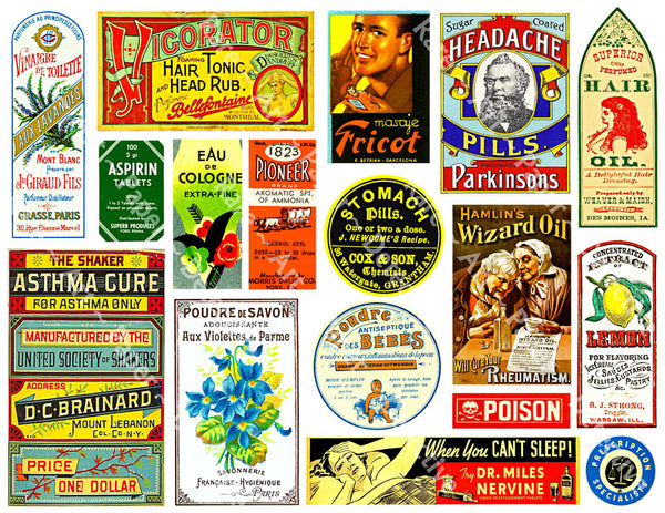 39 Pcs. Apothecary & Druggist Labels, 2 Sticker Sheets, Huge Set of Old Fashioned Chemist, Pharmacy Stickers, Medicine Bottle Label Set, 2P2