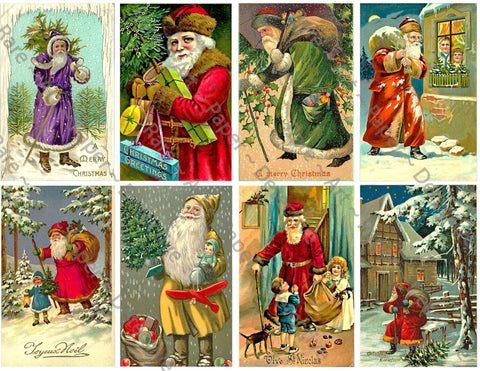 "Christmas Stickers, 8 Pcs. Deluxe Set of Old Fashioned Postcard Journal Images, 4"" x 2.5"" each, Santa Claus, #647"