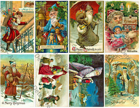 "Christmas Holiday Stickers, 8 Pcs. Deluxe Set of Old Fashioned Postcard Journal Images, 4"" x 2.5"" each, Santa Claus, #648"