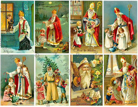 "Christmas Postcard Inspired Stickers, 8 Pcs. Deluxe Set of Old Fashioned Postcard Journal Images, 4"" x 2.5"" each, Santa Claus, #649"