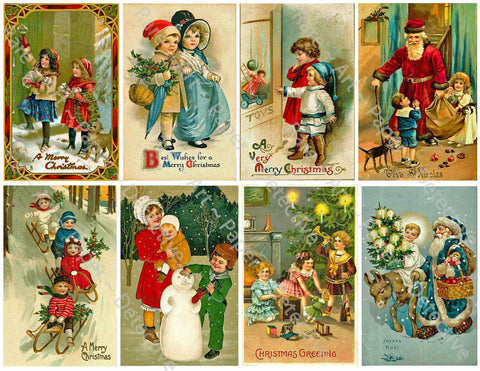 "Christmas Stickers, 8 Pcs. Deluxe Set of Old Fashioned Postcard Journal Images, 4"" x 2.5"" each, #650"