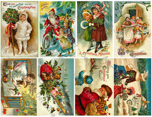 "Christmas Stickers, 8 Pcs. Deluxe Set of Old Fashioned Postcard Journal Images, 4"" x 2.5"" each, #651"