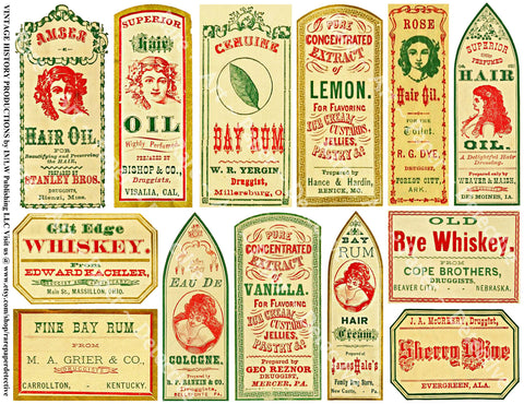 "Apothecary Labels Sticker Sheet, ""Old West"" Style General Store Labels, Pharmacist Medicine Cabinet Decor, 756"