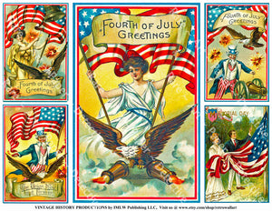 4th of July Decorations, Set of 5 Vintage Postcard Illustrations featuring American Flag Graphics, Sticker Sheet 761