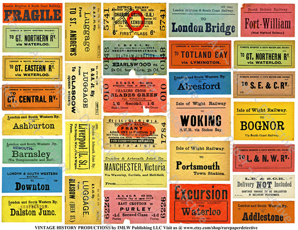 British Railway Luggage Labels, 64 Colorful Train Baggage Stickers, 2 Sheets, Railroad Baggage Tag Set, Suitcase Decal, Travel Journal, P10