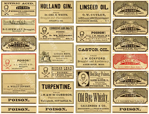 Medicine Poison Bottle Labels, Sticker Sheet, Vintage Druggist Pill Bottle Labels, General Store Apothecary Art Paper, Antique Drug Store, 822