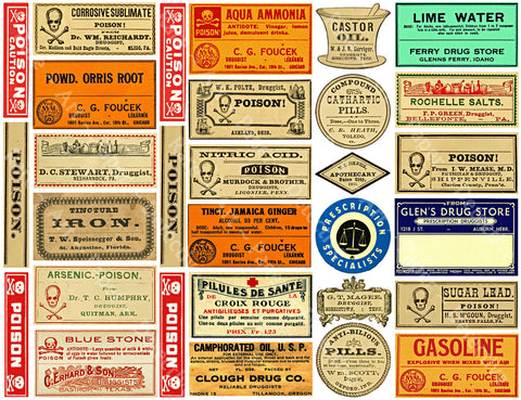 Druggist Poison Bottle Labels, Sticker Sheet, Vintage Medicine Pill Bottle Labels, General Store Apothecary Art Paper, Antique Drug Store, 823