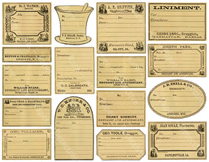 16 Unique Apothecary Label Stickers, Pharmacy & Druggist Decal Set #824