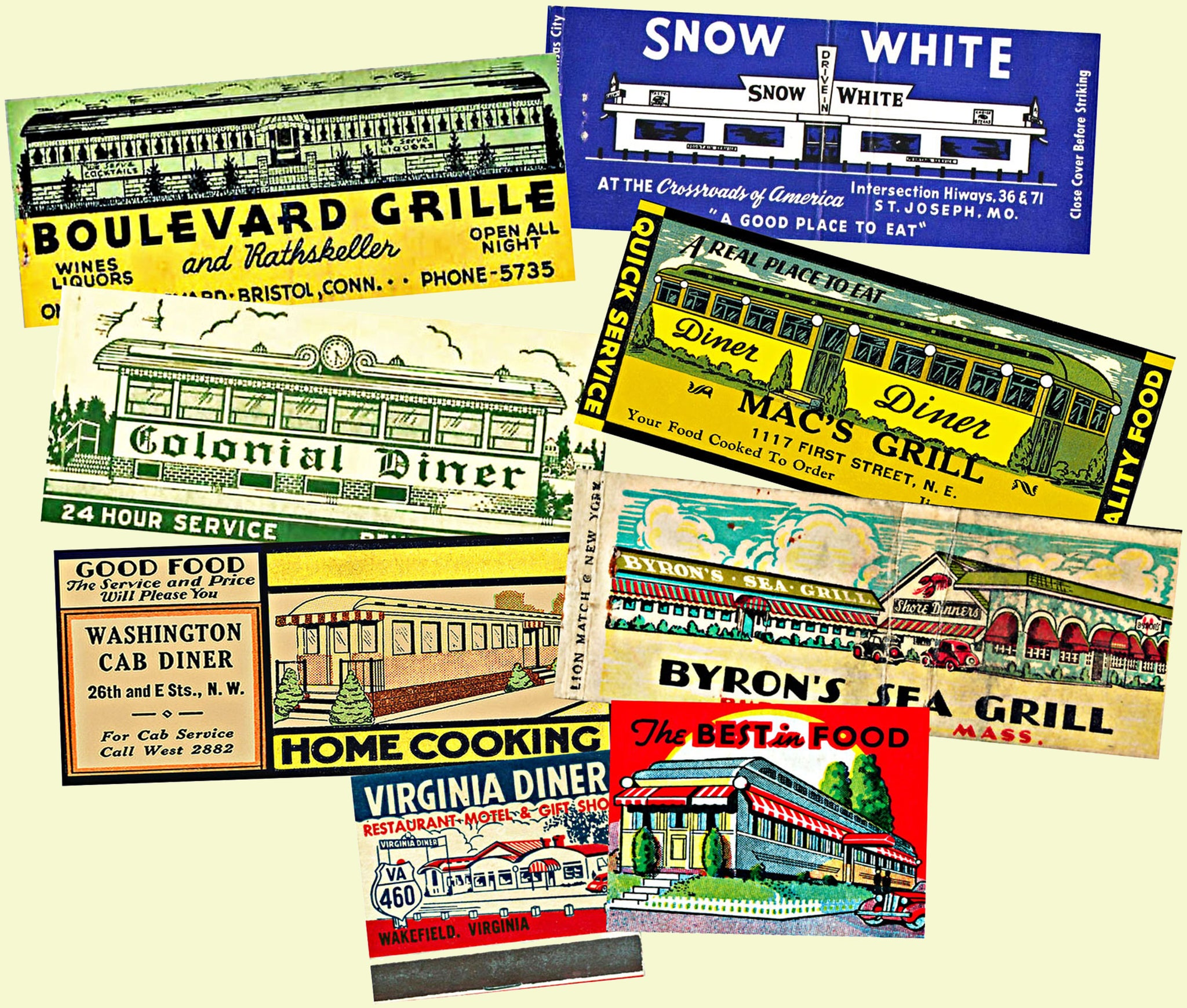 8 pcs. Matchbook Cover Sticker Reproductions, Travel Diner Themed Decals for planners, stationary sets, envelope seals & junk journals, 825