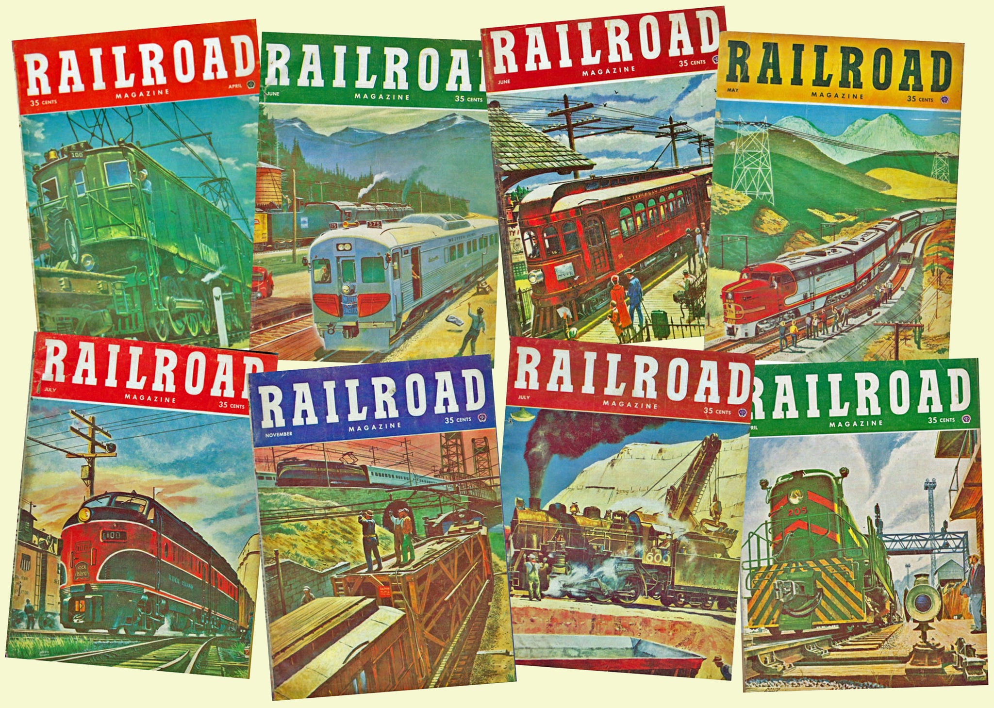 Train Stickers, 8 Pcs. Railroad Gift Seal Set, Children's & Train Enthusiast Gift Tags, Antique Railway Illustrations for Party Decor, 826