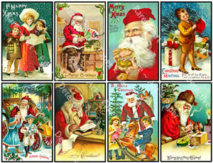 "Christmas Stickers, 8 Pcs. Deluxe Set of Old Fashioned Postcard Journal Images, 4"" x 2.5"" each, Santa Claus, #839"