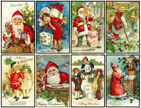 "8 Pcs. Christmas Stickers, Deluxe Set of Old Fashioned Postcard Journal Images, 4"" x 2.5"" each, Santa Claus & Merry Christmas Greetings, 842"