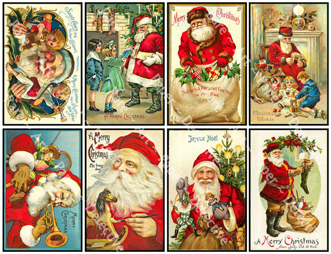 "8 Pcs. Christmas Stickers, Deluxe Set of Old Fashioned Postcard Journal Images, 4"" x 2.5"" each, Santa Claus & Merry Christmas Greetings, 843"