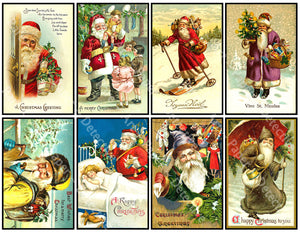 "8 Pcs. Christmas Stickers, Deluxe Set of Old Fashioned Postcard Journal Images, 4"" x 2.5"" each, Santa Claus & Merry Christmas Greetings, 844"