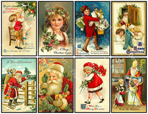"8 Pcs. Christmas Stickers, Deluxe Set of Old Fashioned Postcard Journal Images, 4"" x 2.5"" each, Santa Claus & Merry Christmas Greetings, 845"