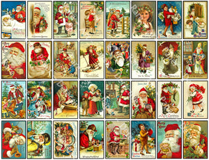 32 Pcs. Christmas Greeting Card Seals, Envelope Seals, Old Santa Claus Holiday Sticker, Vintage Holiday Labels, Antique Gift Tag, 846
