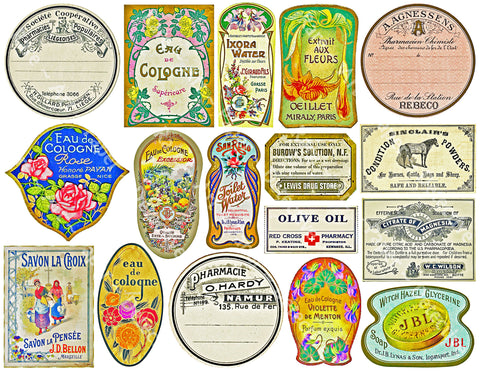French Chemist & Apothecary Sticker Sheet, 17 Elegant Perfume, Cologne & Powder Labels Set #852