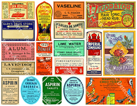 Bathroom Decor, 18 Colorful Pharmacy Stickers, Chemist & Apothecary Labels, Druggist Bottle Stickers. Decorative Jars, Junk Journal Art, 853