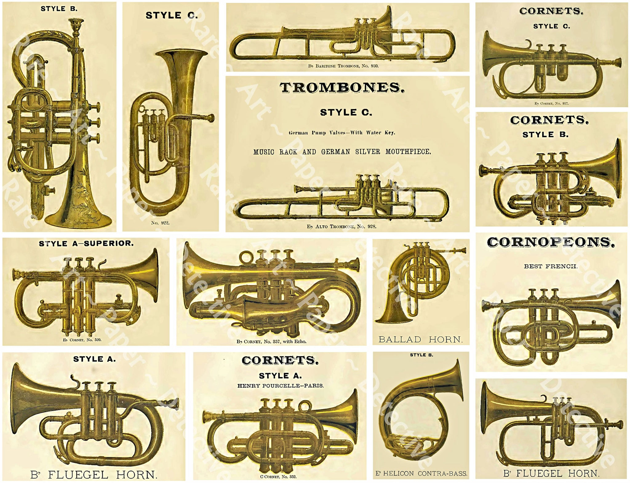 Musical Band Instruments Sticker Sheet, Antique Catalog Art Graphics, Brass Horns, Music Journals, Decor & Collage, Trombones, Cornets, 855
