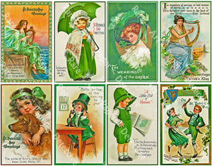 "8 Pcs. St Patrick's Day Stickers, Deluxe Set of Old Fashioned Postcard Journal Tags, 4"" x 2.5"" each, Luck of the Irish Holiday Graphics, 856"