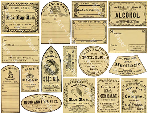 17 Authentic Looking Apothecary Label Stickers, Pharmacy & Druggist Decal Set #863