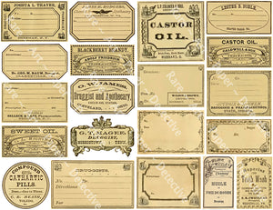 Pharmacist Label Stickers, 20 Bathroom & Halloween Labels, Apothecary & Druggist Decal Set #864