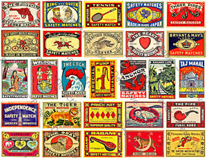 "Antique Matchbox Label Stickers, Authentic Sizes, 2"" x 1 3/8"", Matchbook Art Labels, 27 Pcs. Junk Journals & Scrapbook Embellishments, 867"