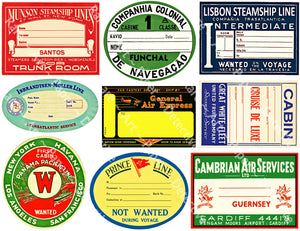 "Steamship Luggage Label Sticker Sheet, 9 Travel Stickers from the Golden Age of Travel, 8.5"" x 11"" Decal Sheet for Suitcases, #897"