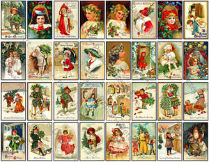 Christmas Greeting Card Seals, 32 Envelope Seals, Old Santa Claus Holiday Stickers & Antique Gift Tag, 907