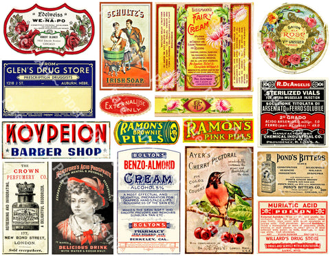 Pharmacy & Druggist Label Art Paper Stickers, Barber Shop, 17 Drug Store Signs and Curiosity Items for Bathroom Decor and Junk Journals, 921