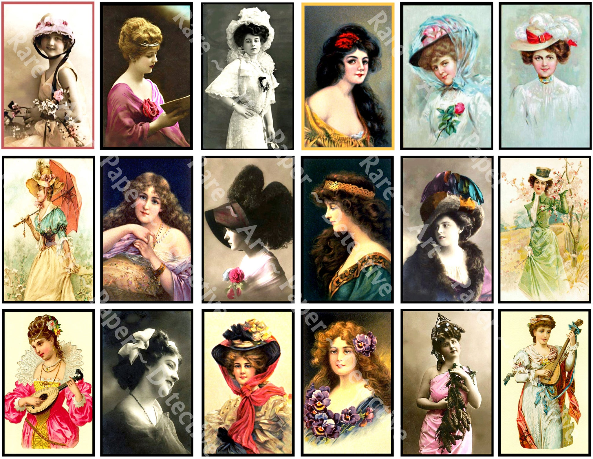 Antique Women Drawings, Victorian Fashion Portrait Sticker Tags for Journals & Collage #947