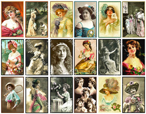 Antique Women Drawings, Victorian Fashion Portrait Sticker Tags for Journals & Collage #948