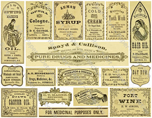 Apothecary Label Stickers, 17 Bathroom & Halloween Labels, Pharmacy & Druggist Decal Set #951