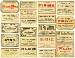 Apothecary Label Stickers, Old Fashioned Bourbon, Whiskey & Wine Labels for General Store & Medicine Cabinet Novelties, #953