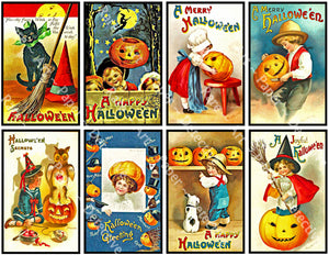 Halloween Stickers, Victorian Halloween Postcard Images & Spooky Clip Art, Black Cats & Pumpkins, Halloween Party Novelty