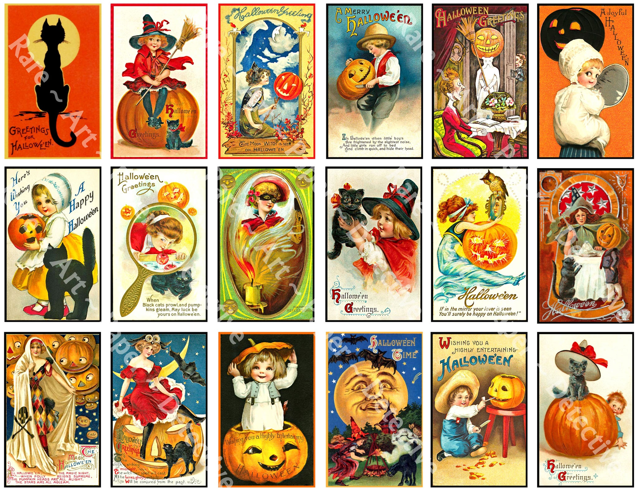 18 Halloween Clip Art Stickers, Mini Victorian Halloween Postcard Images & Spooky Illustrations, Black Cats & Pumpkins, Halloween Party Novelty
