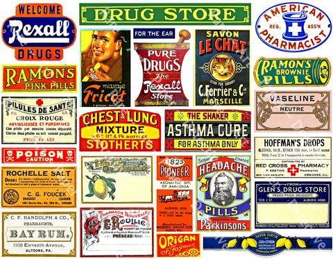 Apothecary Chest Label Stickers, 24 Bathroom Medicine Cabinet Labels, Pharmacy & Druggist Decal Set #983