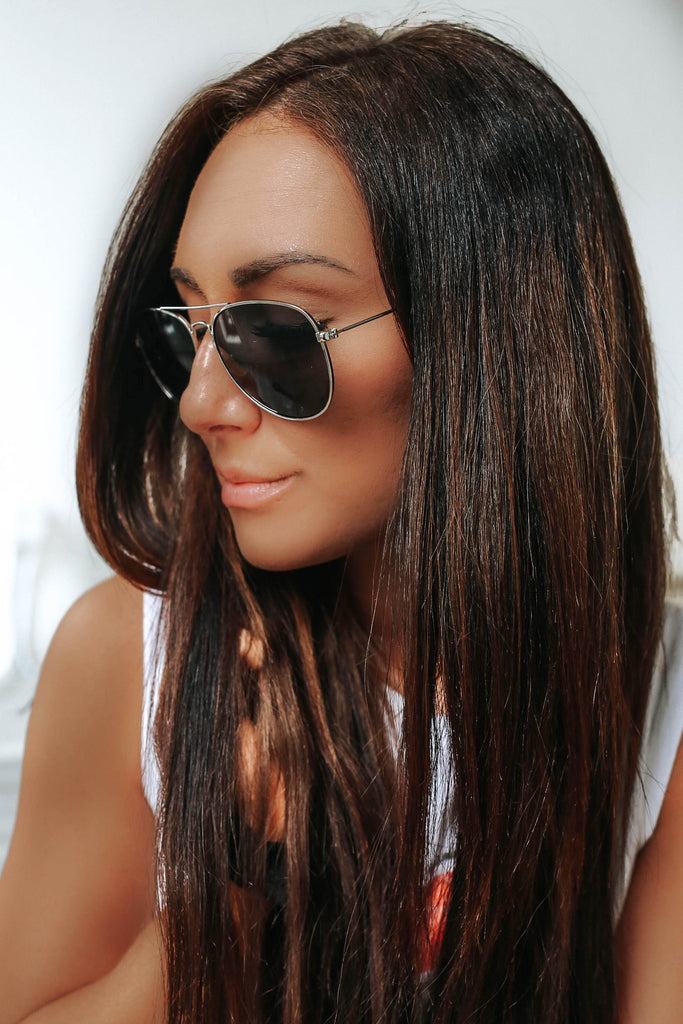 Silver Frame Aviator Sunglasses - Online Clothing Boutique