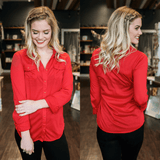 Cardinal Long Sleeve Button Down Classic Collar Top