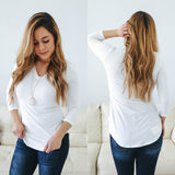 Basic 3/4 Sleeve Top - Online Clothing Boutique