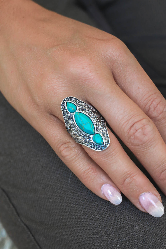 Faux Turquoise Stone Ring - Online Clothing Boutique
