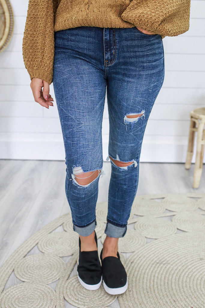 Super High Rise Distressed Denim - Online Clothing Boutique