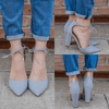 Grey Faux Leather Lace Up Ankle Pointed Toe Heels Rena-13